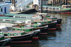 Boats in Hamburg harbor. Germany stock photography