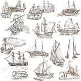 Boats - Hand drawings, Originals Stock Images