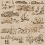 Boats - an hand drawn vector pack Royalty Free Stock Photography