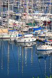 Boats in the harbor. A lot of boats staying in the dock Royalty Free Stock Photos