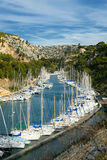 Boats in harbor. Port miou calanque in Provence near Cassis, Marsillia Stock Photos