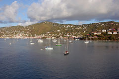 Boats in Harbor. A bunch of small boats in a beautiful island harbor Stock Photos