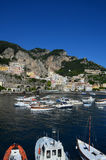 Boats in the Harbor Along the Amalfi Coast Stock Images