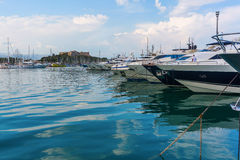 Boats in the harbor of Antibes, Cote Azur, France Royalty Free Stock Photography