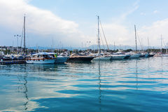 Boats in the harbor of Antibes, France Stock Image