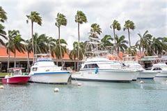 Boats in the harbor on Aruba island in Oranjestad Stock Images