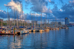 Boats in the harbor of Barcelona Royalty Free Stock Images