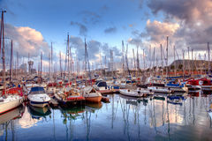 Boats in the harbor of Barcelona Royalty Free Stock Photo