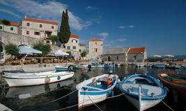 Boats in the harbor Bol Brac Island Croatia Stock Photo