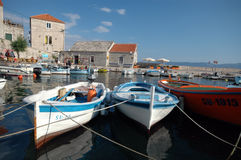 Boats in the harbor Bol Brac Island Croatia Stock Photography
