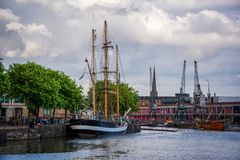 Boats in the harbor of Bristol UK. Boats in the harbor of Bristol, UK royalty free stock photo