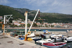 Boats in harbor. Coastline of Petrovac, Montenegro. Boats in harbor Stock Photo
