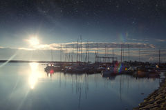 Boats in the harbor at dawn. Royalty Free Stock Photos