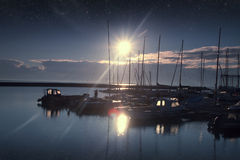 Boats in the harbor at dawn. Stock Image