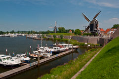 Boats in Harbor of Dutch Medieval Town Heusden Stock Images