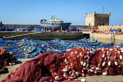 Boats on the harbor, Essaouira, Morocco Royalty Free Stock Photography