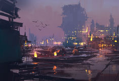 Boats in harbor of futuristic city,evening scene. Illustration painting Stock Photo