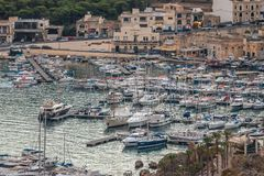 Boats in the harbor with the Gozo ferry Mgarr.Horizontal. above view September 2018 stock images
