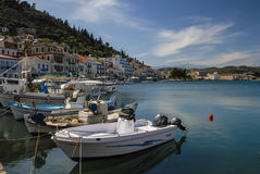 Boats in the harbor of Gytheio Stock Images