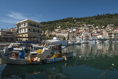 Boats in the harbor of Gytheio Stock Photo
