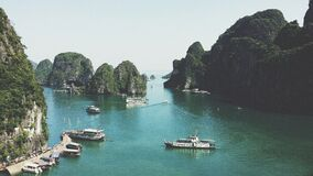 Boats in harbor of Halong, Vietnam Royalty Free Stock Photography