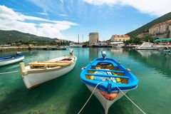 Boats in the harbor in Mali Ston in Croatia Stock Images