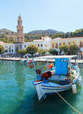 Boats in harbor of Panormitis. Symi island, Greece Royalty Free Stock Photos