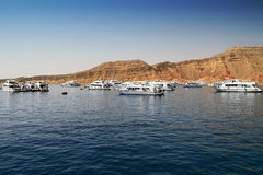 Boats in harbor of Red Sea Stock Photography