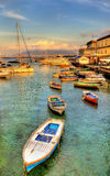 Boats in the harbor of Santa Lucia - Naples Stock Images