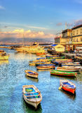 Boats in the harbor of Santa Lucia - Naples Stock Photography