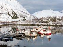 Boats in harbor Sildpollen, Lofoten Islands, Norway Royalty Free Stock Photo