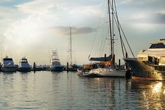 Boats in a harbor at sunset in Key West, Florida. stock photography