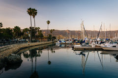 Boats in the harbor at sunset, in Santa Barbara, California. Stock Images
