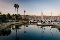 Boats in the harbor at sunset, in Santa Barbara, California. Stock Images