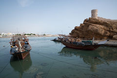 Boats in the harbor of Sur Royalty Free Stock Photos