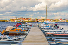 Boats in the harbor of the Swedish city of Karlskrona. Recreational boats in the harbor of the Swedish city of Karlskrona during summer Royalty Free Stock Images