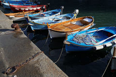 Boats in the harbor of Vernazza Stock Photography