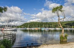 Boats in harbor of Windemere at Bownes Royalty Free Stock Photography