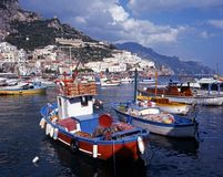 Boats in harbour, Amalfi, Italy. Royalty Free Stock Image