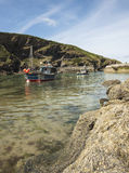 Boats in harbour at Boscastle, Cornwall from rocks Royalty Free Stock Images