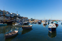 Boats in harbour Brixham Devon England during the heatwave of Summer 2013 Stock Photo