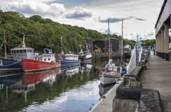 Boats in harbour at Eyemouth, Scotand Stock Photos