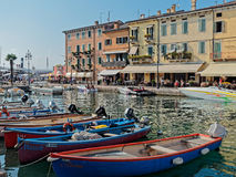 Boats at harbour of Garda lake Royalty Free Stock Photo