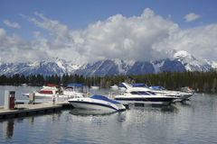 Boats in harbour at Grand Teton lake Stock Photo