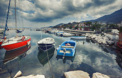 Boats at harbour ,  Ischia island in Italy Royalty Free Stock Photos