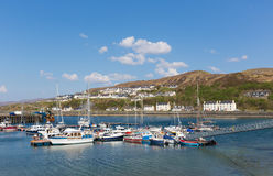 Boats in harbour Mallaig Scotland uk port on the west coast of the Scottish Highlands near Isle of Skye in summer with blue sky. Mallaig Scotland uk port on the Royalty Free Stock Photography