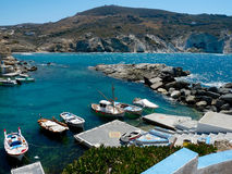 Boats in harbour on Milos island (Greece) Royalty Free Stock Photos