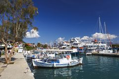 Lefkada. Boats in the harbour of Nydri village on Lefkada island in Greece stock photos