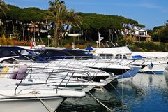 Boats in the harbour, Puerto Cabopino, Spain. Royalty Free Stock Photos