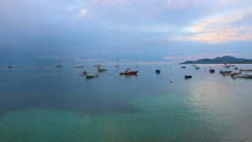 Boats in harbour, Puertp rico. Boots anchored in beautiful harbour at sunset stock video